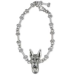 Art Dog Ltd a Bracelet and Necklace with Box Great Dane Cropped Photo Jewelry Set of Earrings Handmade