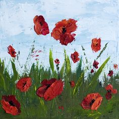 How To Paint Poppy Flowers with Acrylic Paint and a Palette Knife, Simple Step-By-Step Tutorial. I have had several people ask about my painting process and I thought I'd share it on my blog. I lov...