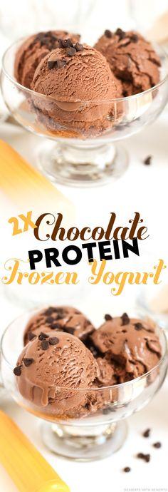Healthy Double Chocolate Protein Frozen Yogurt (sugar free, low fat, high protein, high fiber, gluten free) - Healthy Dessert Recipes at Desserts with Benefits Healthy Yogurt, Healthy Sugar, Healthy Desserts, Healthy Treats, High Protein Desserts, Healthy Recipes, Protein Snacks, Healthy Protein, Ice Cream Desserts