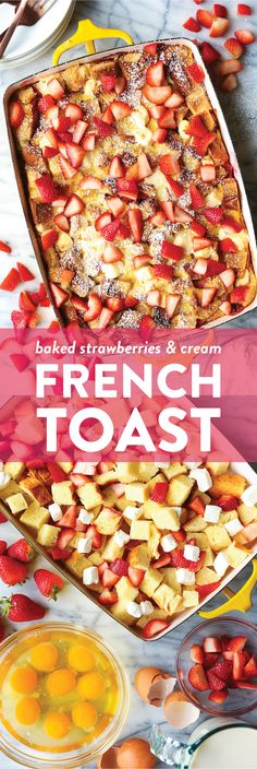 Baked Strawberries and Cream French Toast - The most impressive make-ahead breakfast! So easy with prep. Just pop it right in the oven before serving! Baked Strawberries and Cream French Toast Breakfast Desayunos, Make Ahead Breakfast, Breakfast Recipes, Breakfast Ideas, Muffin Recipes, Baked Strawberries, Strawberries And Cream, Brunch Items, Snacks Sains