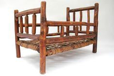 Antique Old Hickory Furniture Salesman Samples. Rare Martinsville, Indiana, vintage old hickory 3 piece set including rocker, side chair and bed in original surface.