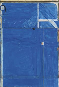 RICHARD DIEBENKORN - UNTITLED #2 signed with initials and dated 82 gouache, crayon and pasted paper on paper, 33 1/4 by 22 1/4 in.