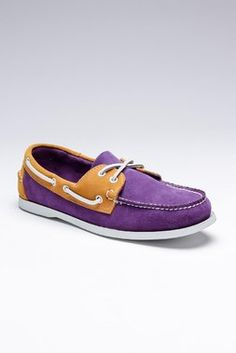 Purple boat shoes.