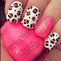 Pink leopard print nails and glitter Gorgeous Nails, Love Nails, Pretty Nails, Pretty Nail Designs, Diy Nail Designs, Sinful Colors Nail Polish, Nail Colors, Cute Nail Art, Easy Nail Art