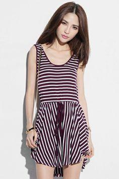 自己結ばVネック紫のストライプドレス ¥3,800