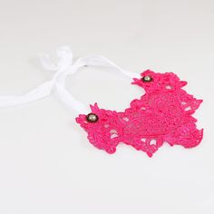 Fabric False Collar Lace Necklace Rose Red Flower Design White Ribbon Lolita #Collar-$1.45