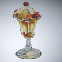 Vintage Soda Fountain Ice Cream and Fruit