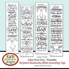 Originally drawn and colored in my ESV Journaling Bible... these four (4) original Bible Verse Bookmarks are ready for you to print and color or use as Bible Journaling Template Traceables and Printables