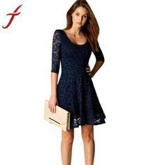 988703f29b876 Fashion New Lace Dress 2017 Sexy Lady Women Office Wear Half Sleeve Party  Evening Short A-Line Mini DressGender  WomenPattern Type  PatchworkSeason   ...