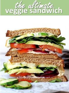 The Ultimate Veggie Sandwich. Loaded with fiber vitamins minerals and healthy fats this veggie sandwich is sure to please even the biggest meat eaters! Healthy Diet Recipes, Healthy Fats, Healthy Snacks, Vegan Recipes, Healthy Eating, Skinny Recipes, Veggie Sandwich, Sandwiches For Lunch, Wrap Sandwiches