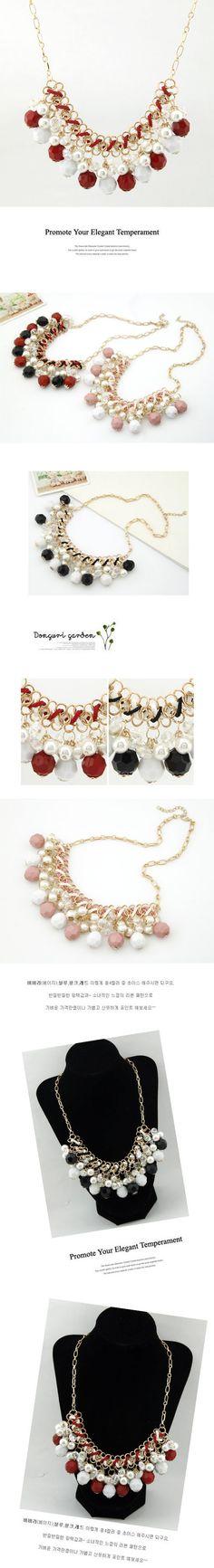 Mechanic Black Imitate Pearl Weave Alloy Korean Necklaces www.asujewelry.com