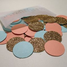 Party Confetti Coral Teal and Gold Glitter 1 inch by RuffledPaper, $5.50  Scrap book paper and use the cricket!