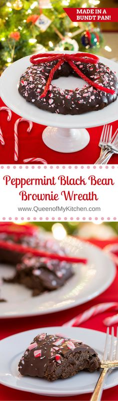 Peppermint Black Bean Brownie Wreath - A fun, festive, and slightly healthier holiday dessert with classic Yuletide flavor! Made in a bundt pan. | QueenofMyKitchen.com