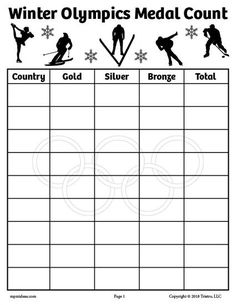 """FREE Printable 8.5"""" x 11"""" Winter Olympics Medal Count Tally Worksheet! Keep track of how many medals each country wins. Great in the classroom with your preschoolers, kindergartners, and 1st graders, or at home. Get the free Winter Olympics worksheets here --> https://www.mpmschoolsupplies.com/ideas/7912/free-printable-winter-olympics-medal-count-tally-worksheets/"""