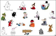 A snapshot of the Moomin characters. Down From The Mountain, Tove Jansson, Programming For Kids, Little My, Printable Stickers, Book Authors, Childrens Books, Coloring Pages, Fairy Tales