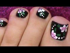 Black Toenail Art Design Tutorial