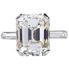5.11 Carat Emerald Cut Diamond Platinum Engagement Ring 1 #DazzlingDiamondEngagementRings