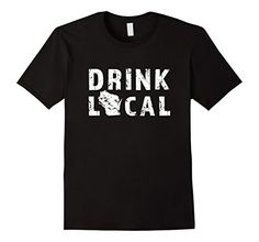 Mens Drink Local Wisconsin Beer Distressed T-Shirt 2XL Bl...