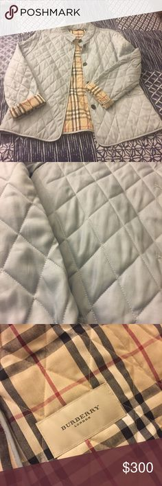 Burberry Quilted Jacket Quilted Burberry jacket in baby blue! Simple but always cute for Spring or Fall! 100% authentic Burberry Jackets & Coats
