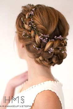 updo with braided flowers | prom #hair #hairstyle