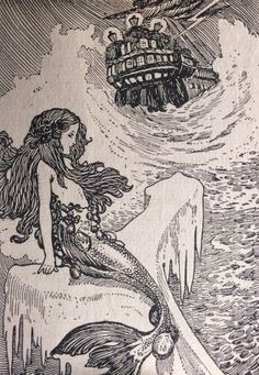 """oldchildrensbooks: """" Golden Fairy Tales. Grimm's Fairy Tales. Thomas Nelson and Sons. London, Edinburgh, Dublin, and New York. .1913. The Little Mermaid """"A large ship lay on the still waters"""" """""""