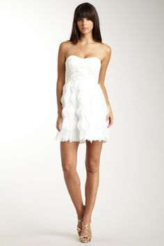 Going to my first family reunion banquet on my husband's side since the wedding. The theme is all white. I think this will do the trick.  MM Couture- Strapless Chiffon Dress  HauteLook
