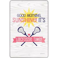 """Create a lacrosse theme in any room with this 18"""" X 12"""" aluminum room sign.  A great gift for an avid lacrosse player, fan, or coach!"""