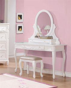 Caroline White Wood Vanity Set