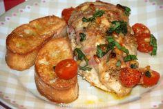 Italiaanse kipfilet uit de oven met bruschetta.                                   ...
