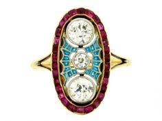 Diamond ruby & plique a jour enamel ring, French circa 1905.