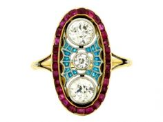Diamond ruby & plique a jour enamel ring, French circa 1905 from Berganza London Hatton Garden