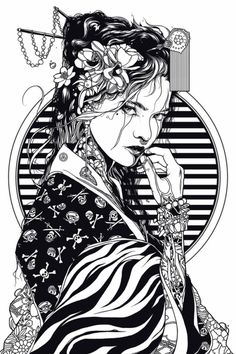 Geisha — 2017 on Behance Character Art, Art Drawings, Samurai Artwork, Samurai Art, Illustration Art, Japanese Tattoo Art, Art Sketches, Japan Art, Geisha Art