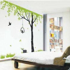 Kinderzimmer streichen wandgestaltung idee design tafel bunt baum