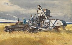 Ogden Pleissner (1905-1983) Grain Fields of Idaho, c. 1940 Watercolor on paper 17 1/8 x 27 1/4 inches SOLD Image