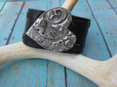 Silver Stamped Heart Leather Cuff