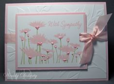 Stamps: Upsy Daisy, Warmest Regards Paper: Whisper White, Pink Pirouette Ink: Pink Pirouette, Certainly Celery Accessories: Leafy Branch Cuttlebug Embossing Folder, Slot Punch Martha Stewart Ribbon: Light Pink Liquid Pearls: Dimensionals @lenny