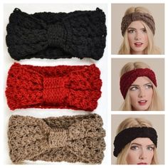 Bow Crochet Mocha, Black or Red Headband, Head Wrap, Ear Warmer~Hair Accessories