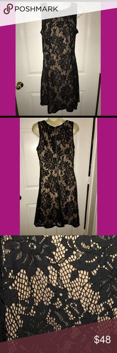 Black Lace Dress Black Lace over nude lining dress with exposed zipper in back. Apt. 9 Dresses Midi