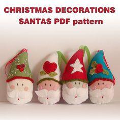 Colgantes de Santa en fieltro - PDF pattern  Felt Christmas ornaments Santas by roxycreations, $5.50