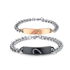 Classic Heart Bracelet Bangle Stainless Steel Promise Jewelry