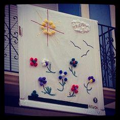 Balconades en Agost #feriadeagost curiosa actividad de #pintura participación ciudadana #Alicante #spain #paint