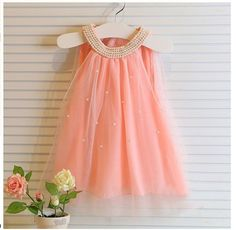 2016 Summer Girls Pleated Chiffon One-Piece Dress With Pearls Collar Children Clothes For Kids Baby, Pink/white