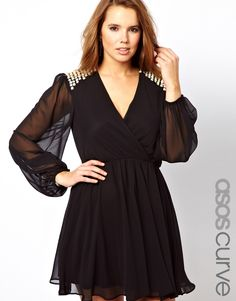 ASOS Curve | ASOS CURVE Wrap Dress With Embellished Shoulder at ASOS