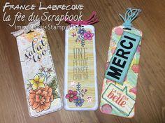 "Signets / Bookmarks ... ""Parfaits Fanions / Perfect Pennants"" + ""I like you"" + Framelits ""Petites Lettres / Little Letters"" ... www.lafeeduscrapbook.com"