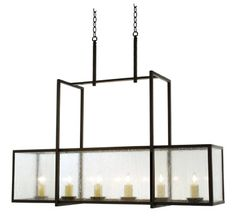 V182  SIX LIGHT IRON AND GLASS CHANDELIER  SHOWN WITH ANTIQUE SEEDY GLASS AVAILABLE WITH FRENCH ANTIQUE GLASS, CLEAR GLASS OR BEVELED GLASS ...