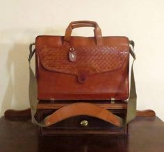 Valentines Sale Hartmann by Lombardo Cognac Leather Briefcase Vintage Bags 295a2bdb27104