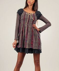 Another great find on #zulily! Brown & Red Sarah Dress & Long-Sleeve Top by Ian Mosh #zulilyfinds