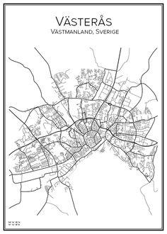 Västerås. Västmanland. Sverige. Karta. City print. Print. Affisch. Tavla. Tryck.