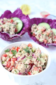 Mayo free tuna salad! This tuna tahini apple salad is loaded with veggies, fruit, healthy fats, and protein for an easy and on-the-go lunch made in minutes!