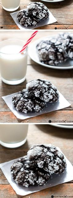 CHOCOLATE CRINKLE COOKIES are the easiest, cakiest cookies you'll ever make. Rolled in powdered sugar before baking, the CAKEY cookies peek through and make for the prettiest Christmas gifts! Cookie Desserts, Just Desserts, Cookie Recipes, Delicious Desserts, Dessert Recipes, Bar Recipes, Recipies, Chocolate Crinkle Cookies, Chocolate Crinkles